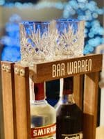Personalised wooden bottle and glass holder home bar 2